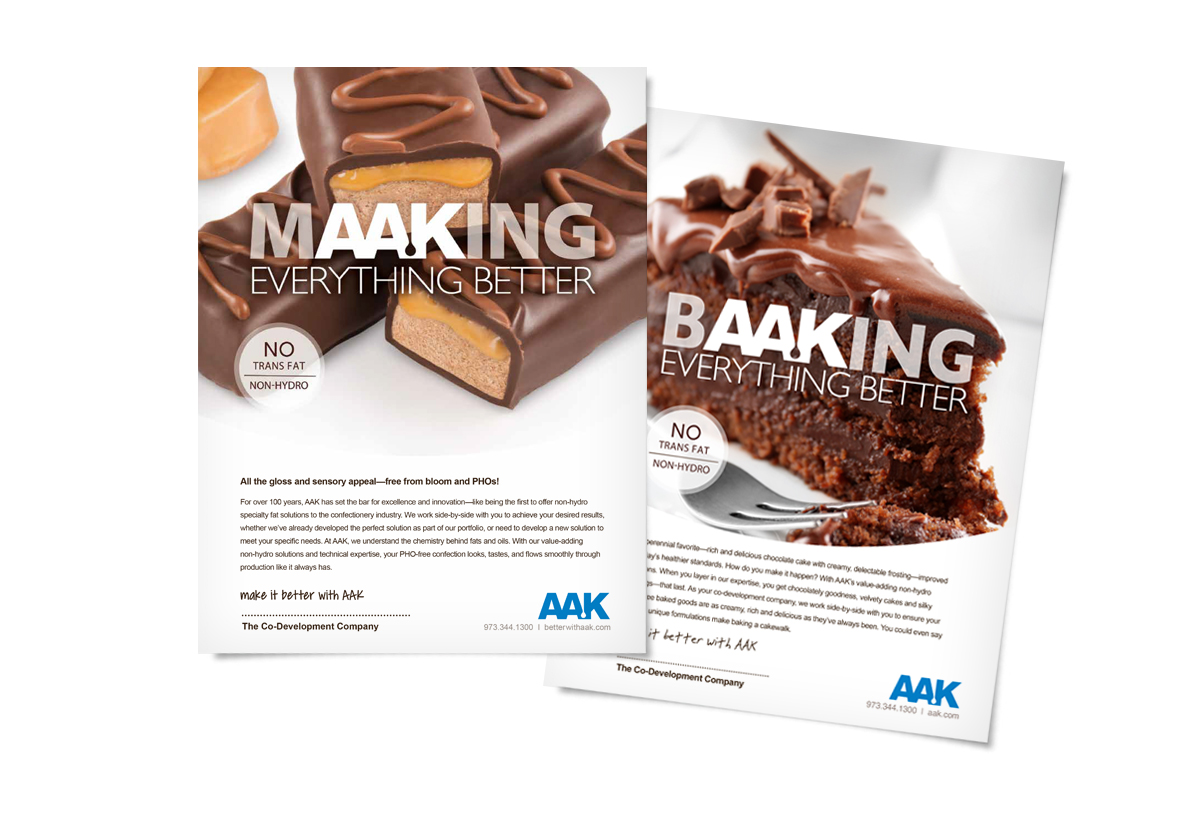 AAK Print Ads with chocolate bars and chocolate cake