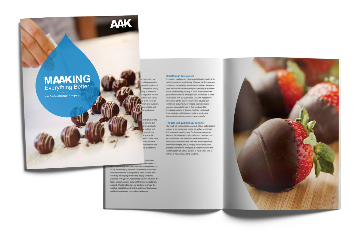 AAK Confectionery Brochure with chocolates