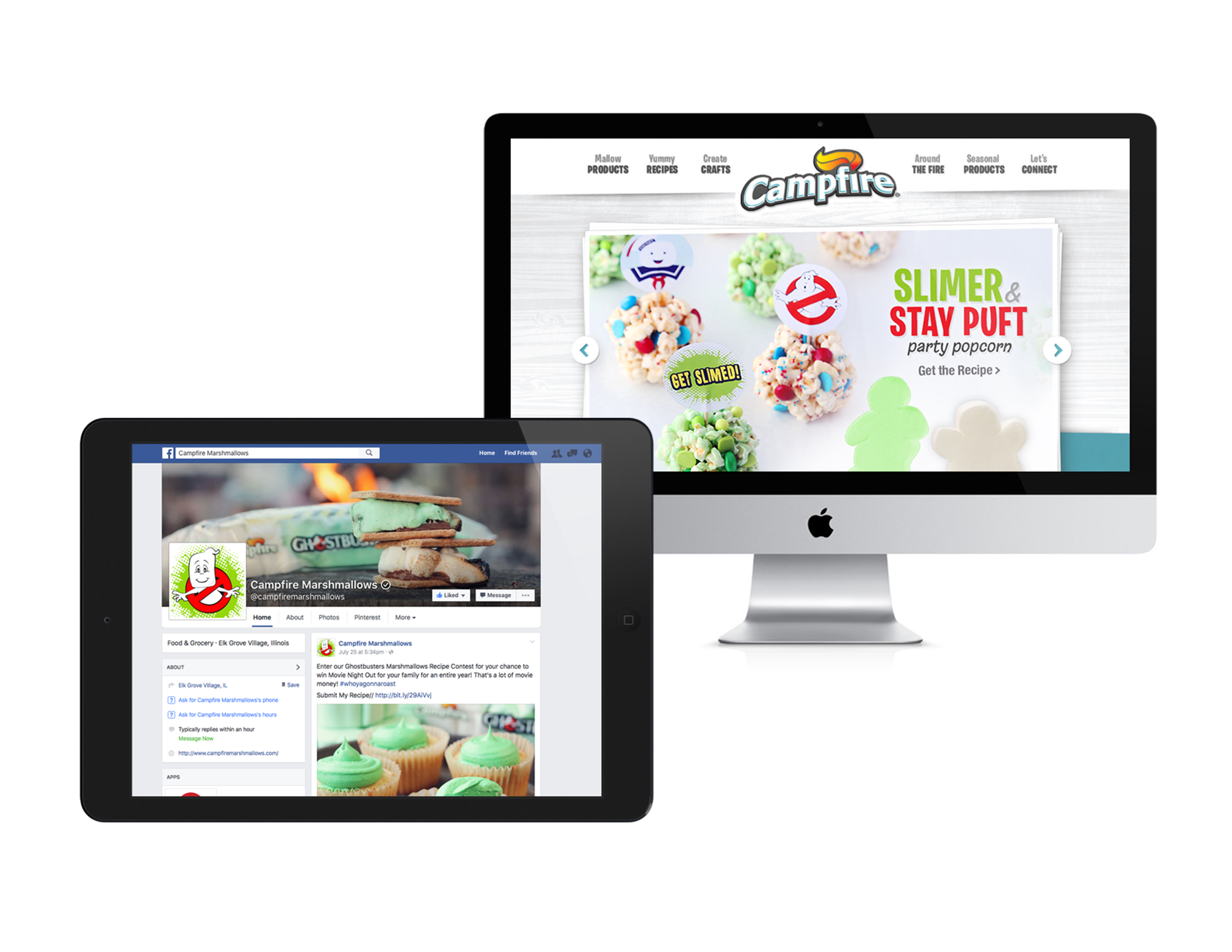 Campfire Ghostbusters website and Facebook example
