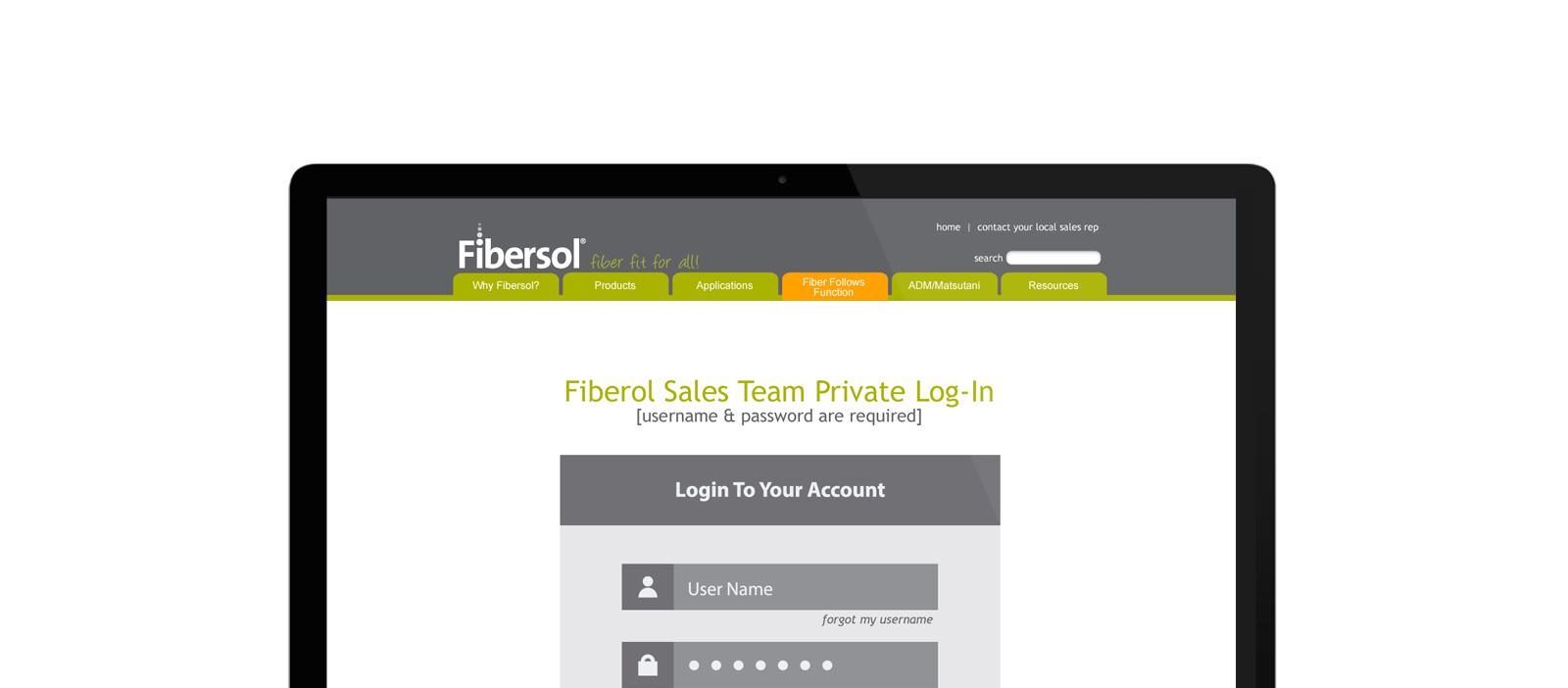 Fibersol Sales Portal login