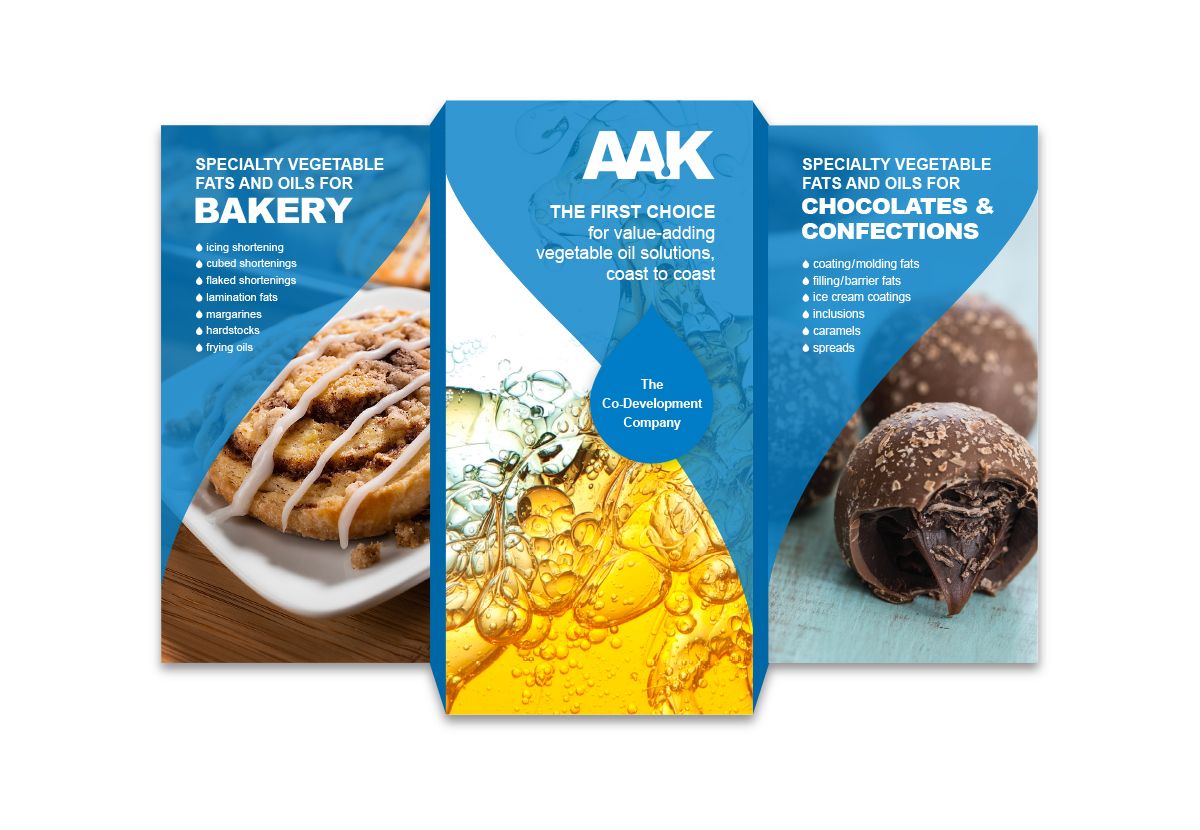 AAK booth banners with oils, pastries and chocolate candy