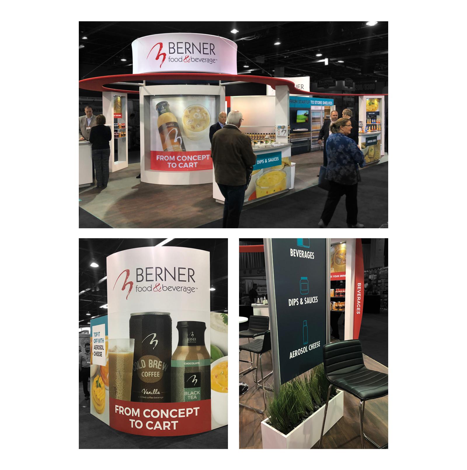 views of Berner Food & Beverage booth at tradeshow