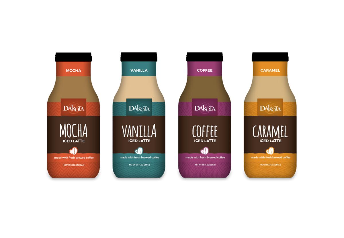 four Berner Dakota iced latte bottles