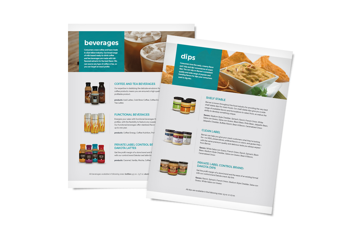 Sell sheets for coffee beverages and dips