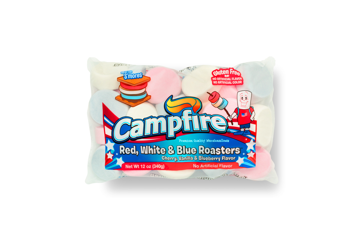 Red, White and Blue Campfire marshmallows