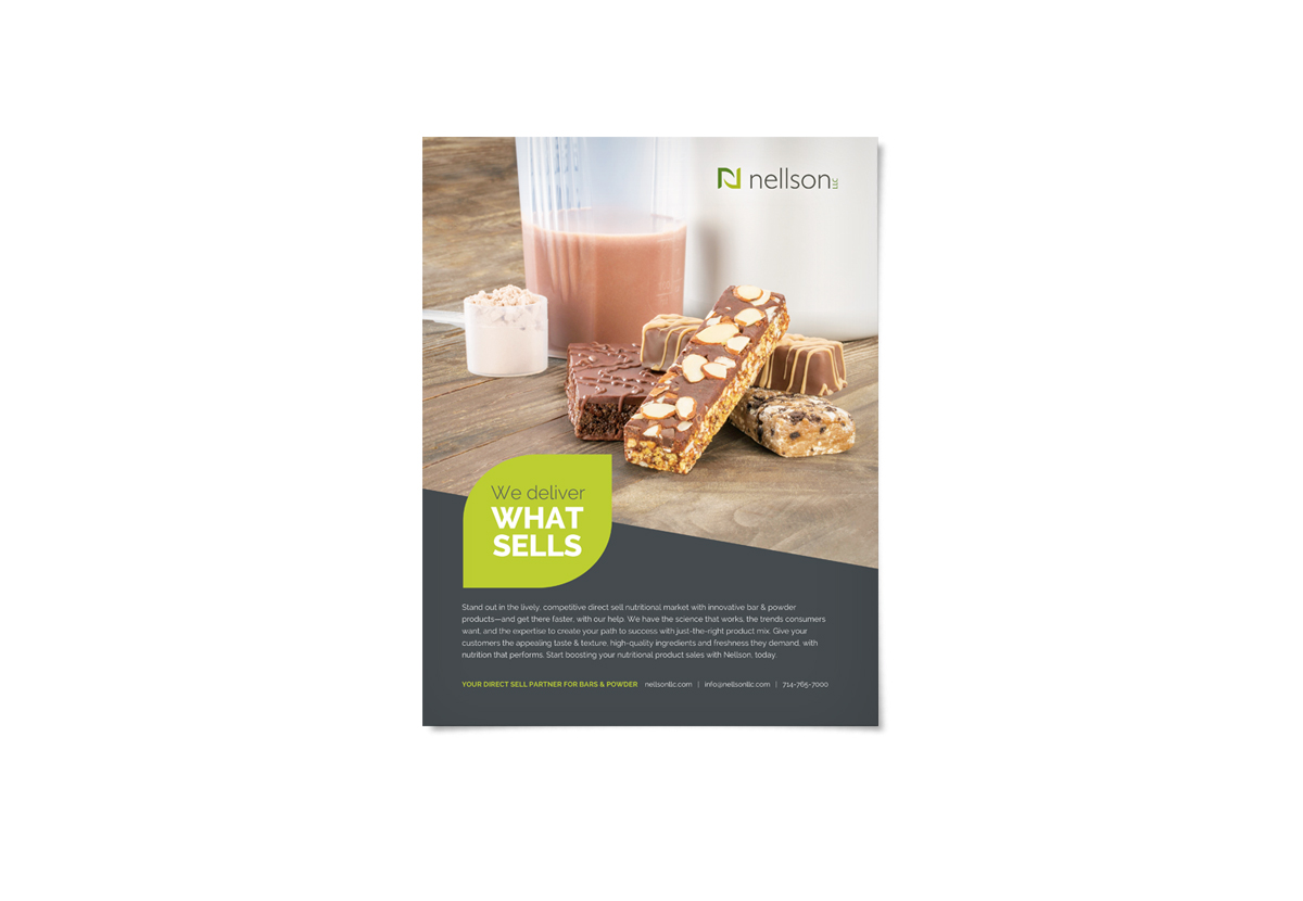 Magazine ad with protein powder and bars