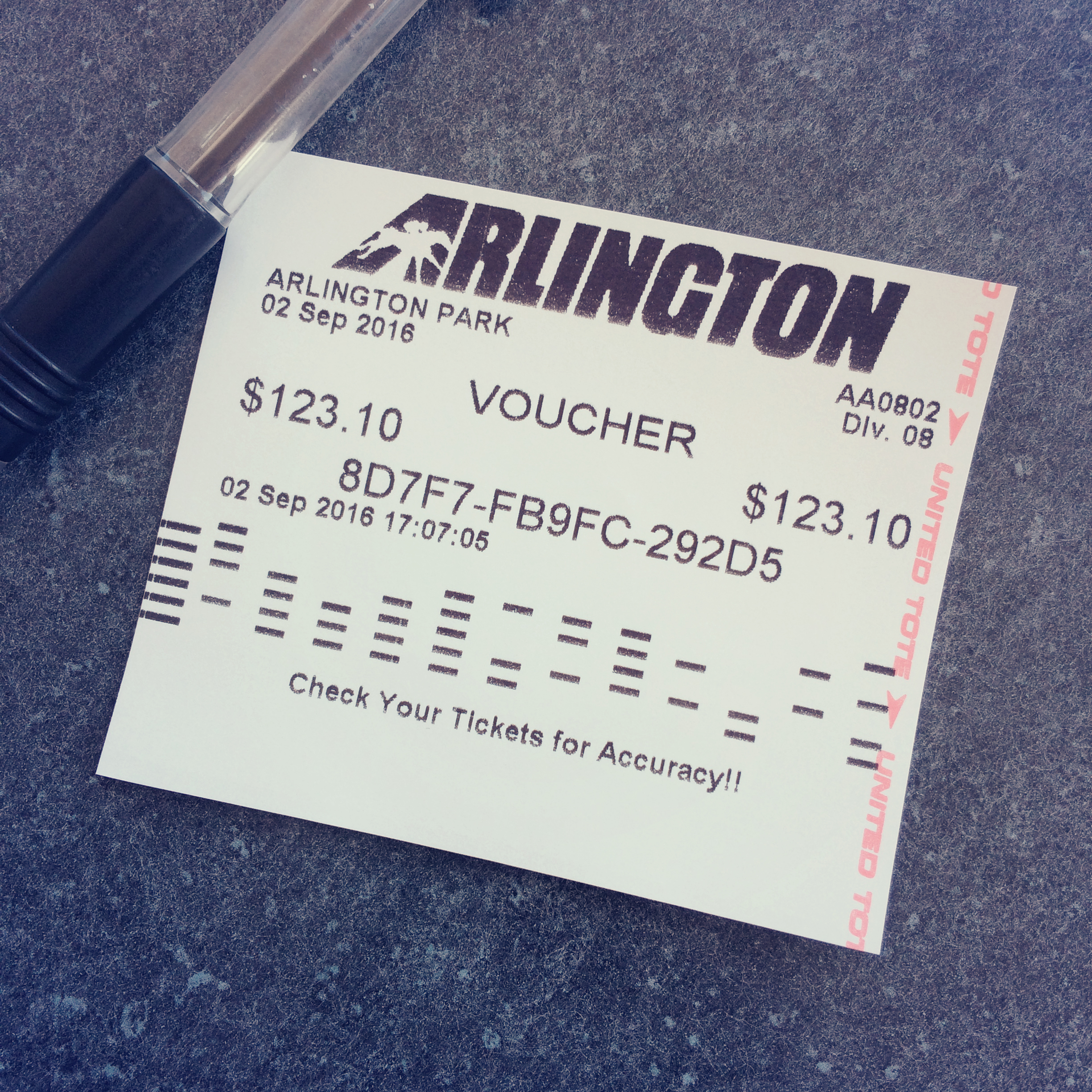 Arlington horse race ticket