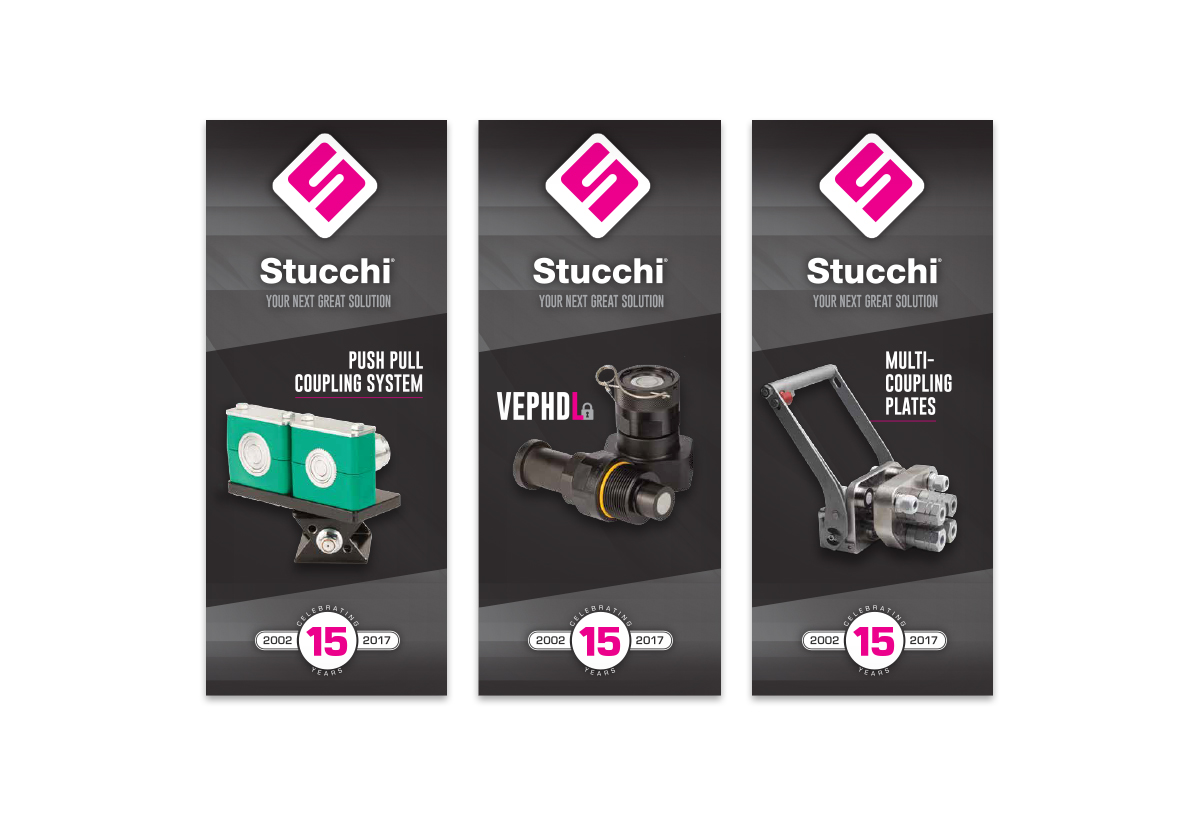 3 Stucchi banners with product examples